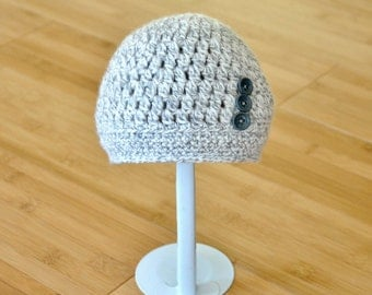 Gray Baby Hat - Newborn to 3 Months Infant Gray Beanie - Baby Girl Grey Beanie with Buttons - Baby Beanie - Baby Boy Gray Hat with Buttons
