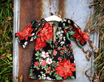 Girls Christmas Dress, Floral Dress, Three Quarter Sleeve, Holiday Toile Dress, coming home outfit, infant, sizes Newborn to 11/12,