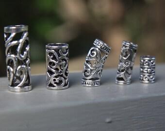 Set of 5 Tibetan Silver Hollow Beads
