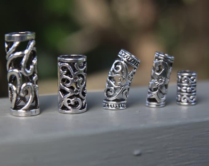 Set of 5 Tibetan Silver Hollow Dreadlock Beads 5mm - 8mm Hole (3/16 - 5/16 Inch)