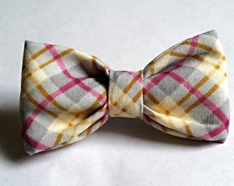 bow tie yellow blue pink plaid argyle baby blue toddler baby childrens kids clip on neck by Brookes & Company