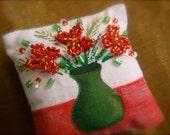 Christmas Vase Miniature Dollhouse Pillow