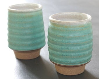 Ceramic Tumblers // Pottery Cups // Set of Two