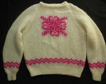 Vintage 80s Handmade Knitted White Pink Snowflake Mohair Sweater Christmas Jumper Size Medium