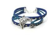 Blue Stacking Bracelet, Dolphin Charm Bracelet