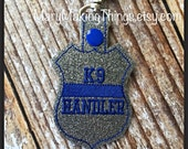 K-9 Handler - Back the Police Cop - Law Enforcement. Key Fob Support - Police Lives Matter