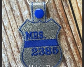 Mrs with Badge Number - Back the Police Cop - Law Enforcement. Key Fob Support - Police Lives Matter
