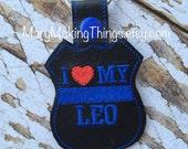 I Love my LEO - Back the Police Cop - Law Enforcement. Key Fob Support - Police Lives Matter