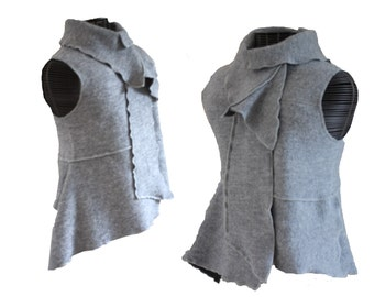 Womens Clothing Vest Felted Wool Refashioned Upcycled Recycled Sweater One of a kind Unique Grey