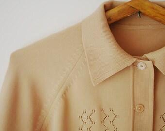 Vintage Cardigan/Soviet Era Cardigan/Beige Cardigan/Reglan Sleeve Cardigan/Collar Cardigan/Women's Cardigan/Size M/1970sStyle