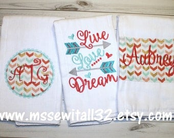Set of 3 Personalized Burp Cloths - Coral / Turquoise / Gold - Arrows