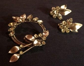 Sale - Vintage Signed Krementz Brooch & Earrings Set with Brilliant Stones