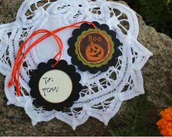 Halloween Gift Tags -  Set of 8 - Pumpkin Boo Treat Tags with To and From