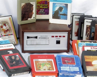 SALE! 8 Track Player with Over 30 8 Track Tapes plus Head Cleaner - Solid State Cartridge Deck by Columbia - Many Popular Recording Artists