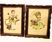 Vintage Sequined Boy and Girl Pictures, 1950s Child's Room Decor