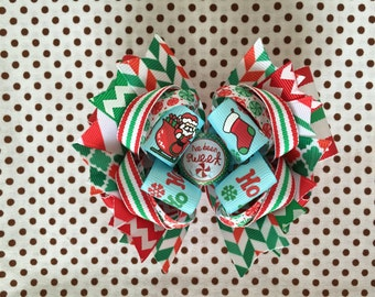 SALE! Ready To Ship Hairbow! Christmas Hairbow, I've Been Sweet Hairbow, Winter Hairbow, Santa Claus Hairbow, Christmas Boutique Hairbow