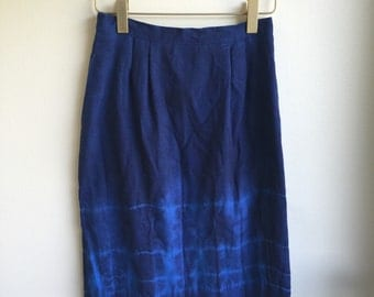 SALE! Hand Tie Dyed Vintage Blue Skirt