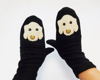 Dog Portrait Custom Mittens With Texting Thumb and Pockets