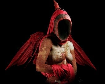 "Dark art, angel, death, red wings, bird, cloak, shroud, occult art, nude photography, photo manipulation, fantasy art, ""The Void"" Canvas,"