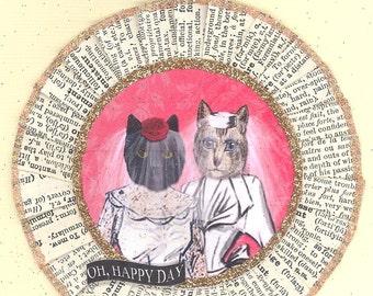Same Sex Brides | Gay Bride | Cat ornament | Vintage Style | Cake topper