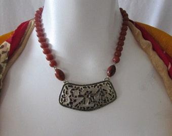 Vintage Sarah Coventry Necklace Burnt Orange Color and Gold/Black tone Pendent