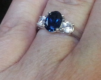 Vintage Created Sapphire Engagement Ring Right Hand Ring