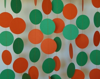 Halloween Party Decoration, Orange and Green Paper Garland, 10 ft. long