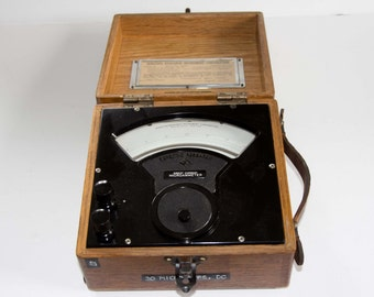 Vintage Microamperes Testing Instrument in wooden oak case