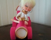 Vintage white angel on a pink train Christmas ornament, mid-century
