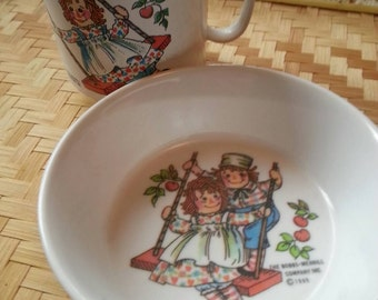 Vintage Raggedy Ann and Andy cup and bowl set