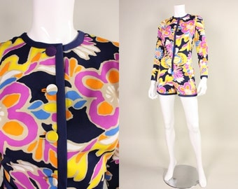 1970s Tori Richards Floral Print Romper & Skirt