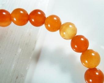 Carnelian Stretch Bracelet 6mm High Quality Smooth Round Beads Orange Red Agate Chalcedony Gemstone