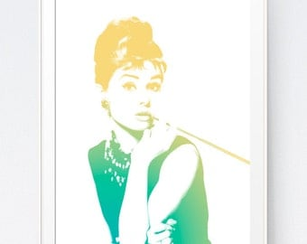 Turquoise Gold Audrey Hepburn Print, Turquoise Mustard Audrey Hepburn Wall Art, Teal and Yellow Wall Print, Teal Gold, INSTANT DOWNLOAD