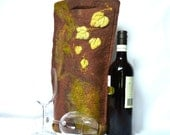 Bottle Bag Brown Felt Australian Merino Wool Grapevine Leaves