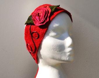 Frida Khalo Headband Felted Flower Cherry Red