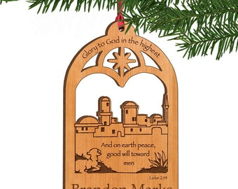 Personalized Bethlehem Town Wooden Ornament