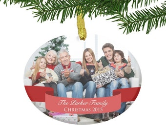 Family Photo Glass Ornament