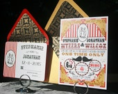 Wedding Invitation Set Vintage Victorian Circus Theme