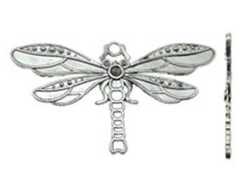 2pc 71x40mm antique silver finish metal dragonfly pendant-8098F