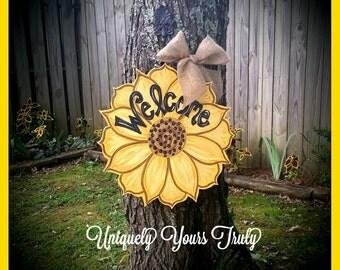 Sunflower Wood Doorhanger