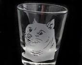 Doge Shiba Inu Illustration Much Custom Etched So Shot Glass Dog Humor Meme