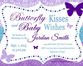 Butterfly Kisses and Baby Wishes Invitation for Baby Shower Purple Teal