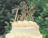 Rustic Wood Wedding Cake Topper Monogram Mr and Mrs cake Topper Design Personalized with YOUR Last Name M001