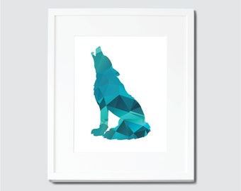 Geometric Green and Blue Wolf Digital Art Print, Wolf Home Decor, Geometric Art, Wolf Art