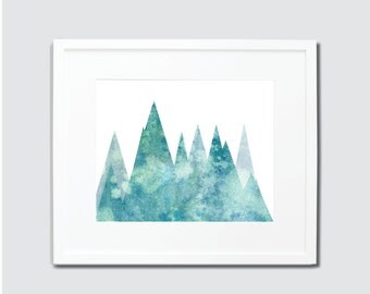 Blue and Green Watercolor Mountains Digital Art Print, Mountain Home Decor, Mountain Art, Watercolor