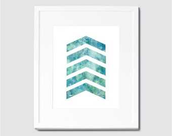 Blue and Green Watercolor Chevron Digital Art Print, Chevron Home Decor, Watercolor Art, Chevron Art