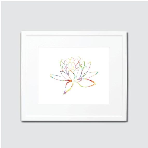 Items Similar To Lotus Flower Watercolor Digital Art Print