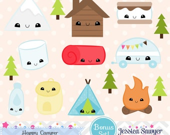 INSTANT DOWNLOAD, kawaii camping clipart and vectors for personal and commercial use