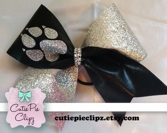 Spandex and Glitter Panther Paw Print Cheer Bow