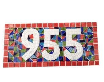 Colorful Address Sign, Whimsical House Number Plaque, Mosaic Sign in Coral, Blue, Green